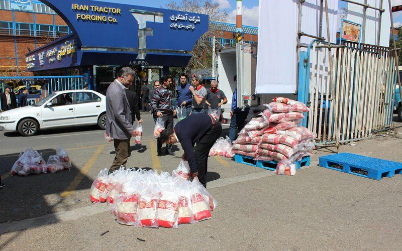 توزیع برنج ایرانی و مرغ گرم بین کارکنان